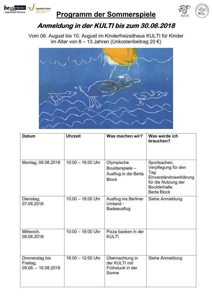 Programm der Sommerspiele in der KULTI-1